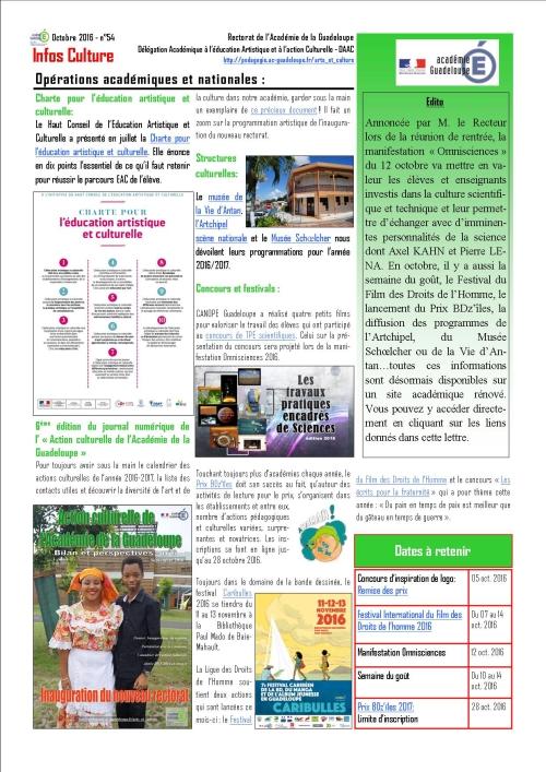 Infos culture d'octobre 2016