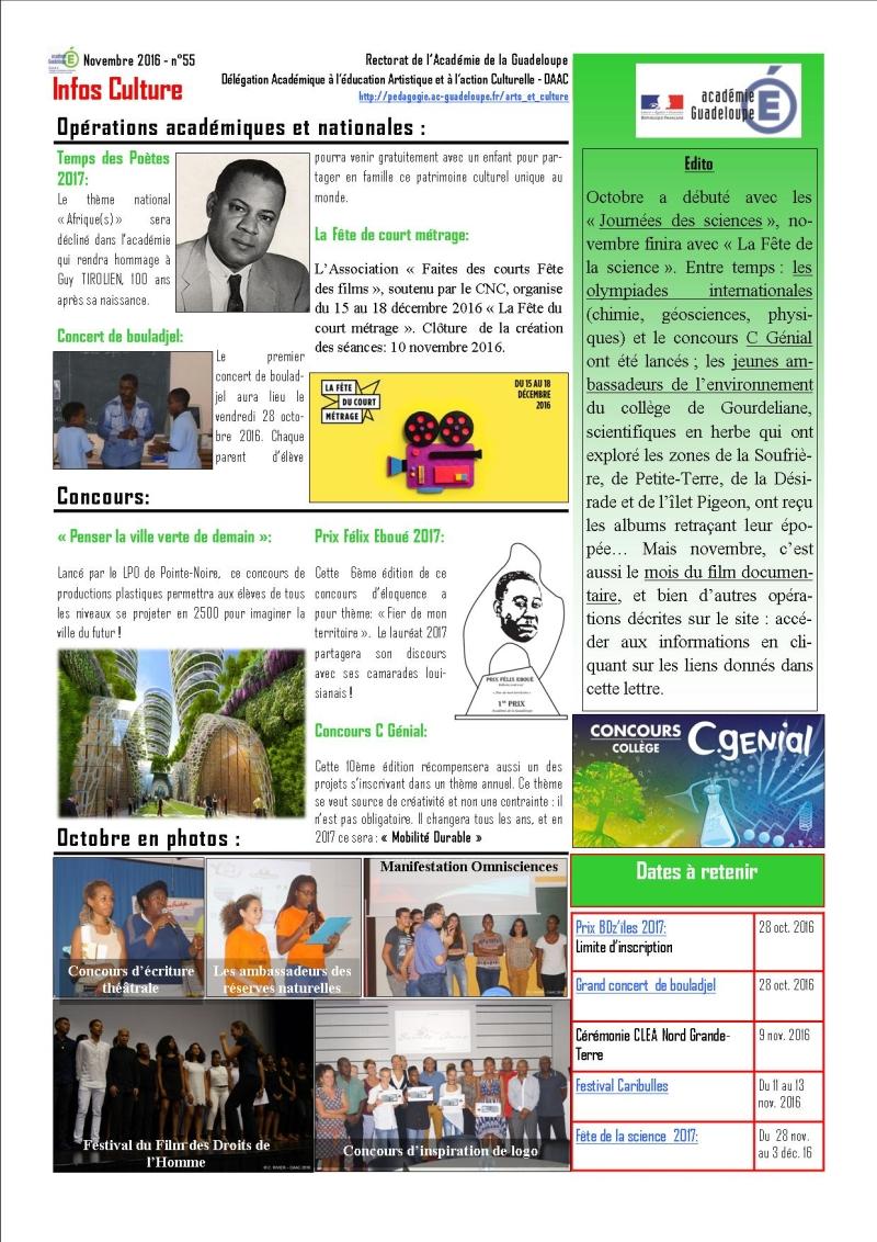Infos culture de novembre 2016