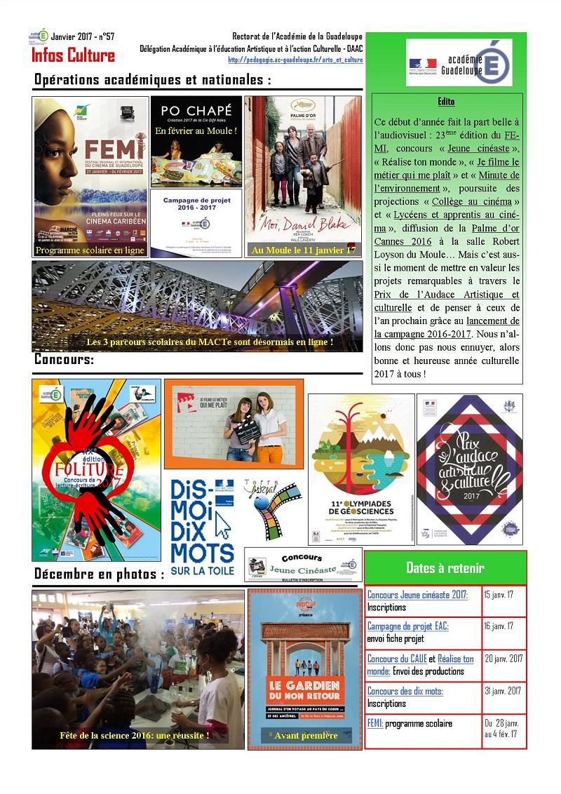 Infos Culture janvier 2017