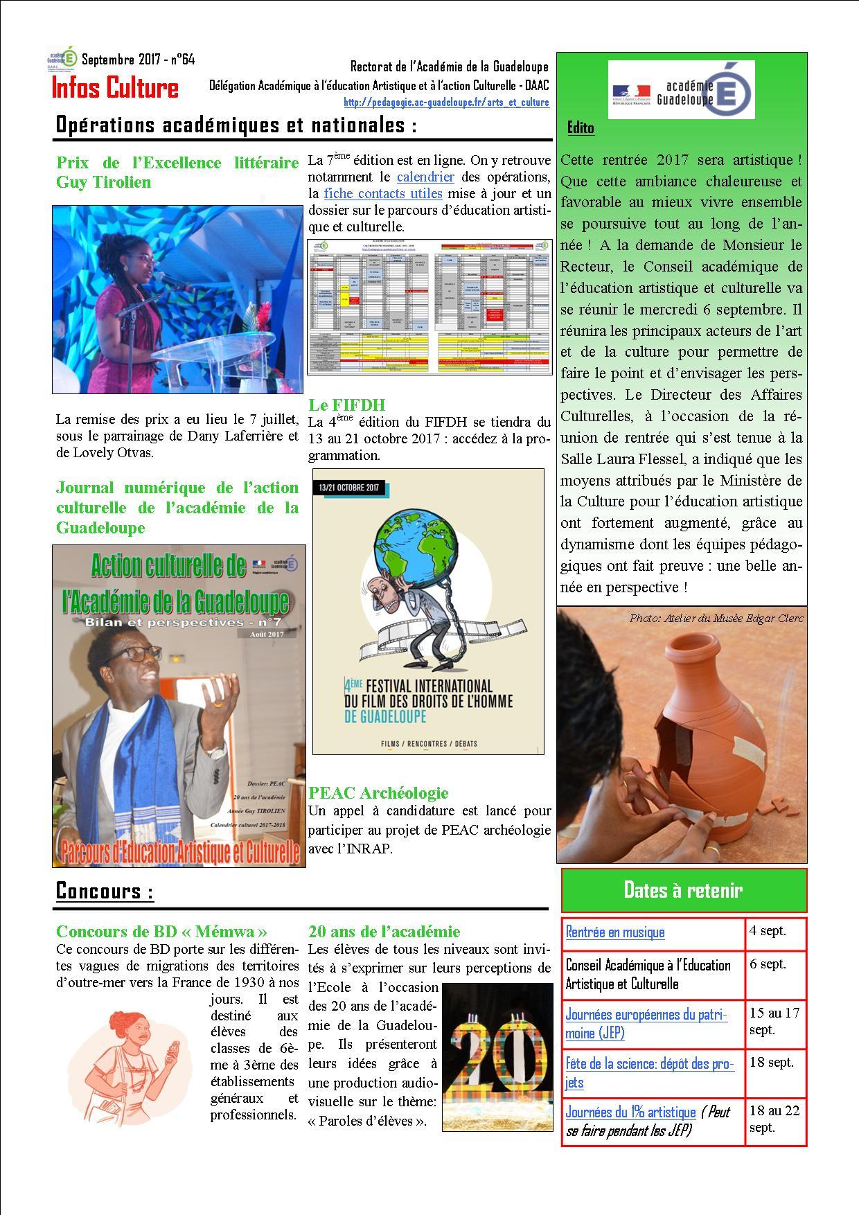 Lettre Infos Culture de septembre 2017