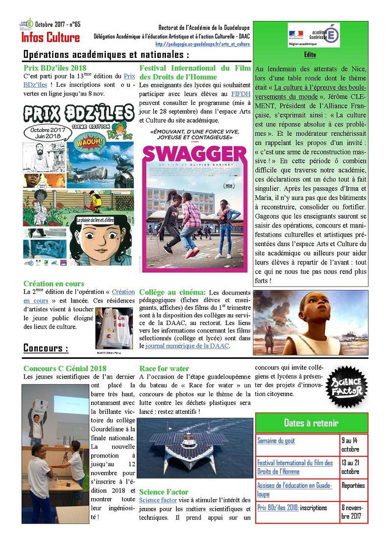 Lettre Infos Culture d'octobre 2017