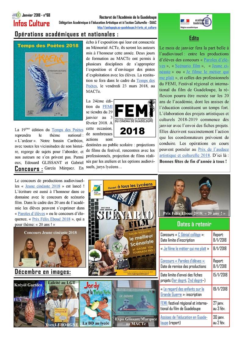 Infos Culture janvier 2018