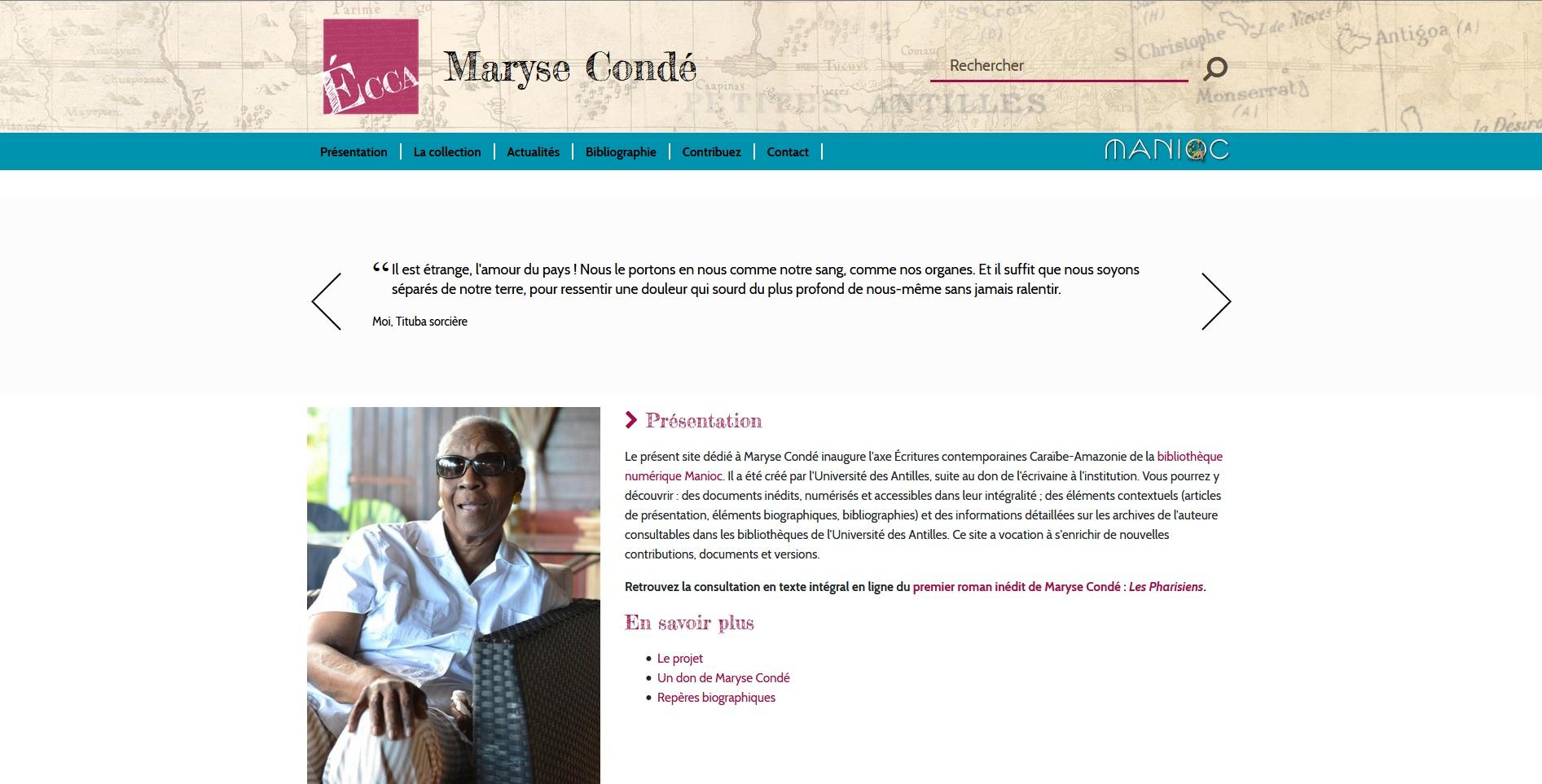 Site de l'université des Antilles consacré à Maryse Condé