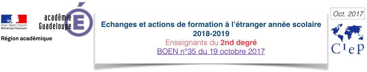 Titre échanges et actions de formation à l'étranger 2018 2019 second degré