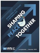 logo journée internationale de al paix, colombe , texte , contribuons à la paix ensemble